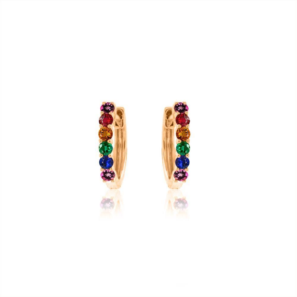 Gold Rainbow Huggie Earrings
