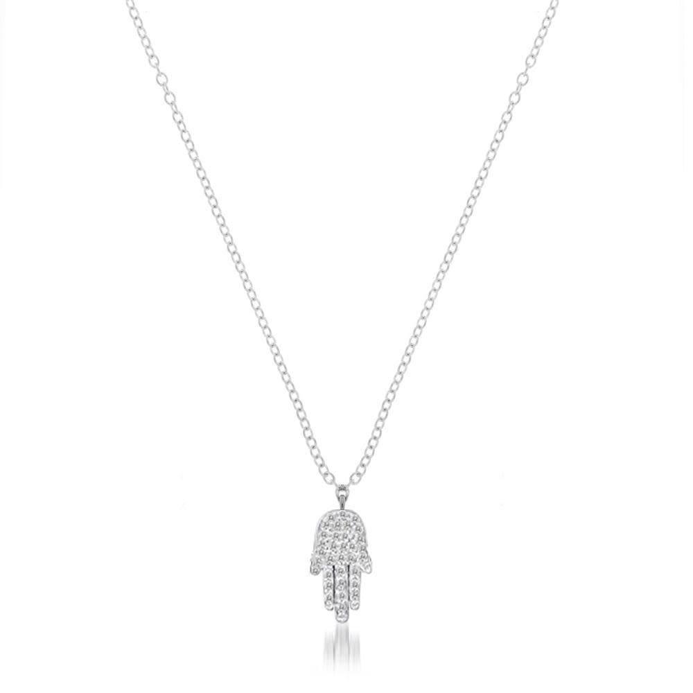 Pave Diamond Hamsa Hand Necklace