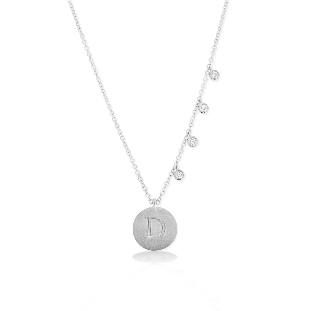 Meira T Engraved Initial Disc Necklace with Diamond Bezels