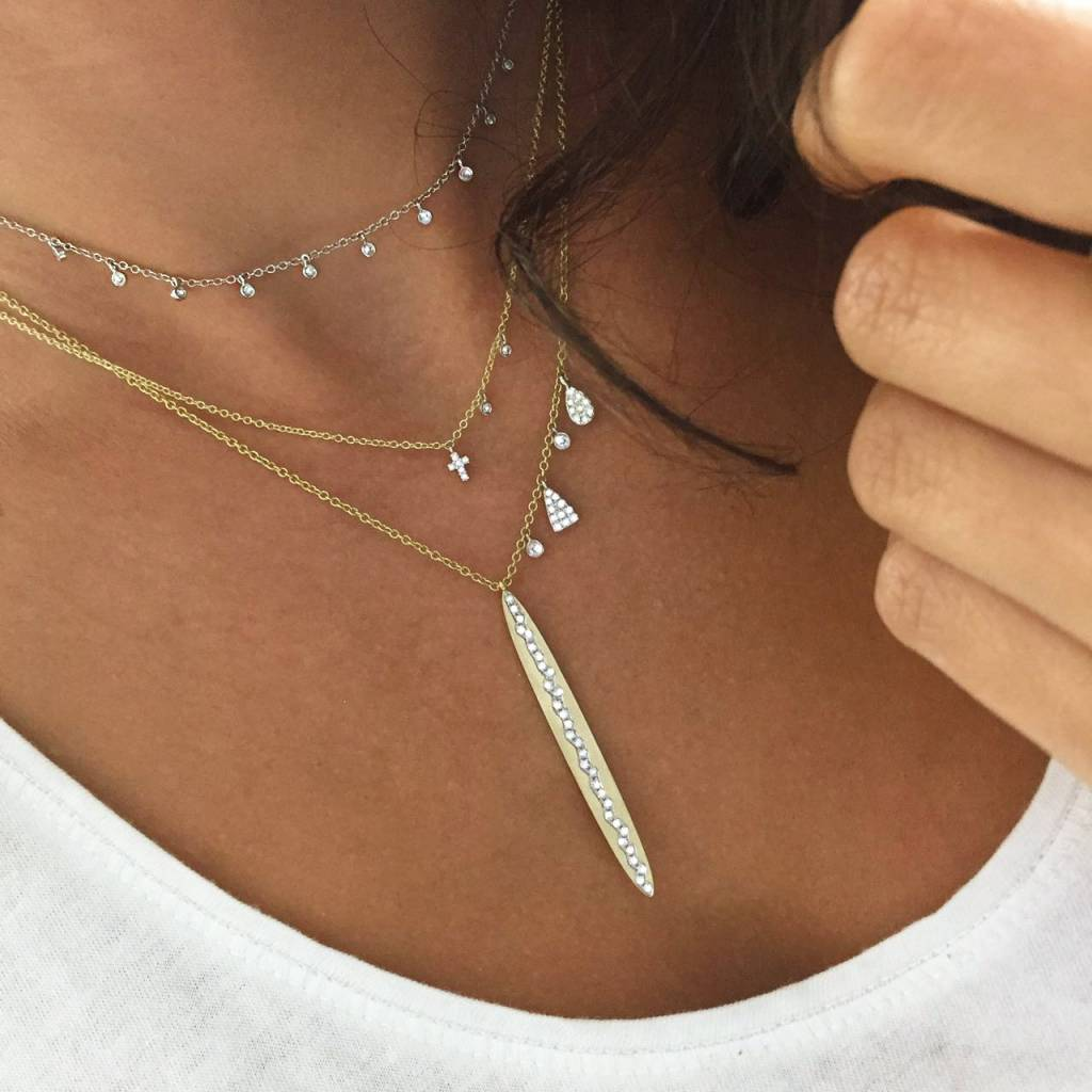Meira T N10362 Hanging Diamond Bezel Necklace