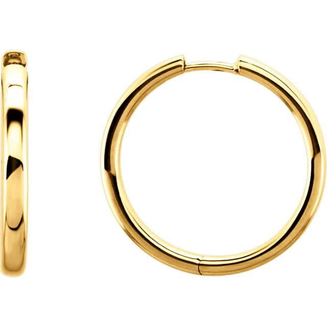 Stuller 1 inch 14kt yellow gold hoop earrings