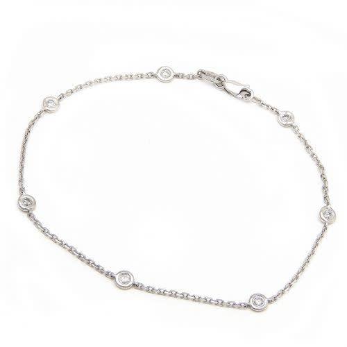 Lau 14kt White Gold 6 Diamond Bezel Bracelet