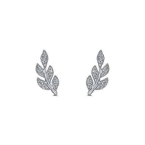 Diamond Leaves Stud Earrings