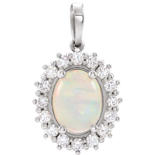 Stuller 86925 Opal & Diamond Pendant