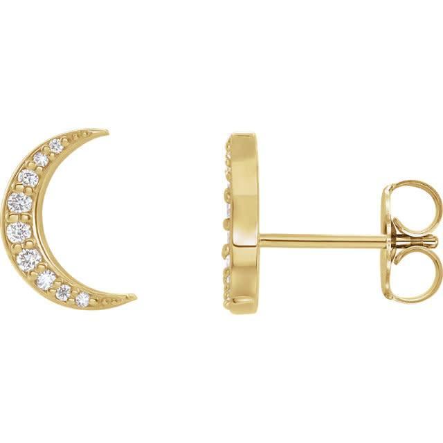 Crescent Moon Diamond Stud Earrings