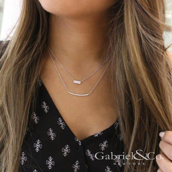Gabriel & Co NK4943 Rectangular Diamond Bar Necklace