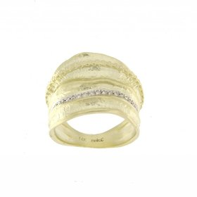 R4313 14kt yellow gold wide diamond fashion ring