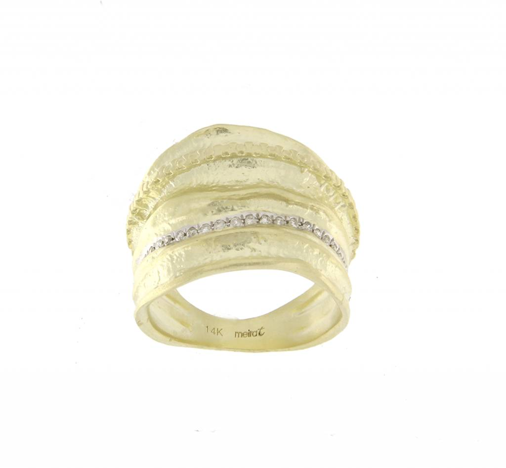 Meira T R4313 14kt yellow gold wide diamond fashion ring