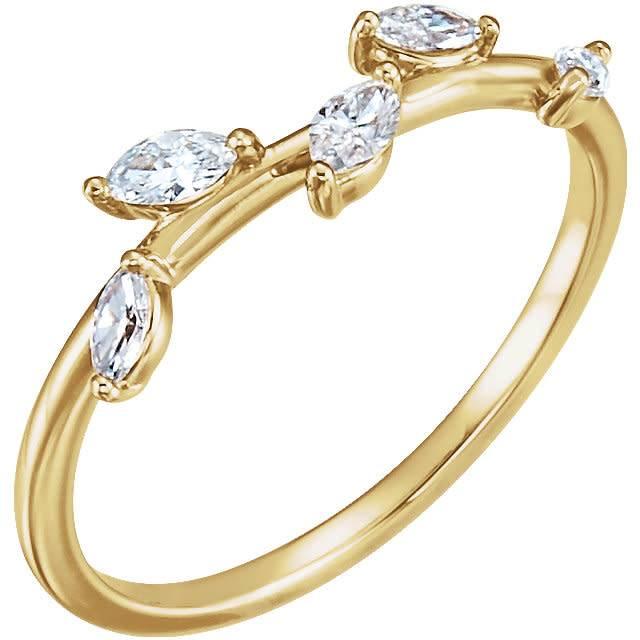 Stuller 14kt gold diamond leaf ring (1/3 carat total)