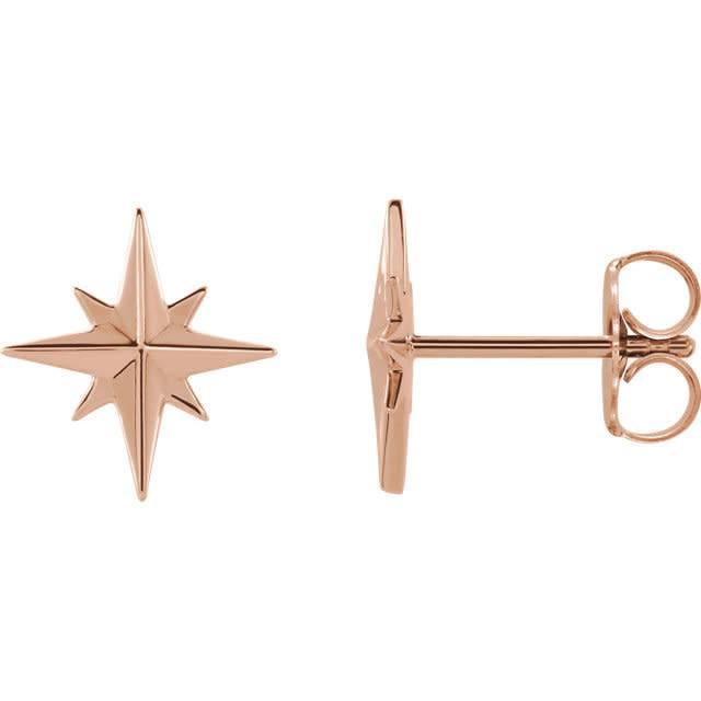 Stuller 14kt Gold Star Earrings