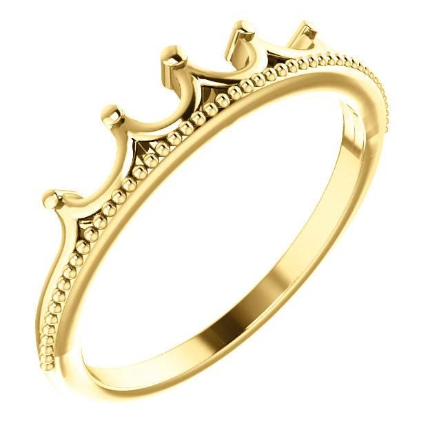 Stuller 14kt gold stackable crown ring