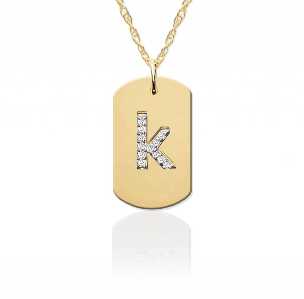 Jane Basch 14kt Gold Dog Tag with Diamond Initial