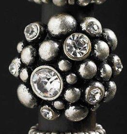 Silver Caviar Big Stone Ring