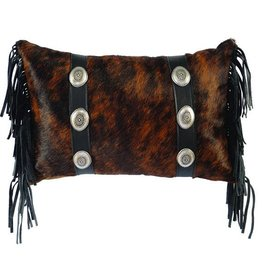 Leather Pillow-12x18 Fabric with Dark Brindled Hair