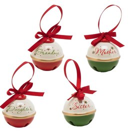 3 Inch Assorted Christmas Bell Ornaments Mother/Daughter/Sister/Grandma