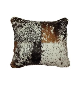 Leather Pillow 16x16 w/ Fabric Back-Speckled Hair on HIde