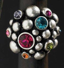 Silver Caviar Multi Big Stone Ring