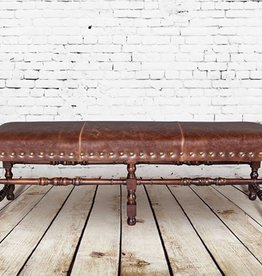 Santiago Bench in Antique Saddle and Dark Walnut