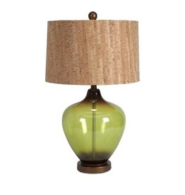 Artemis Glass Table Lamp with Cork Shade