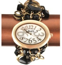 Black and Gold Oval Face Jewelry Watch