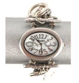 Silver Oval Face Stretch Jewelry Watch
