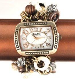 Natural  Gold  Rectangular Face Stretch Jewelry Watch
