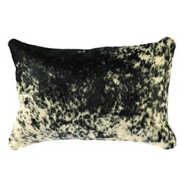 Leather Pillow - 12x18 with Fabric Back, Black and White Speckled Hair on Hide, Back-Black Suede