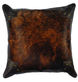 Leather Pillow, 16x16 with Fabric Back, Branch Leather, Timber Leather, Back-Chocolate Suede, Studs- Silver Round Short Leg