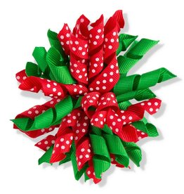 2.3 Inch x 3.5 Inch Green/Red with White Polka Dots Curly Ribbon with Ha