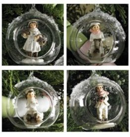 3.5 White Vintage Children Glass Ornaments