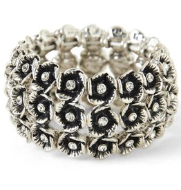 Antique Silver Triple Flower Stretch Bracelet with Charms