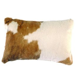 Leather Pillow- 12x18 w/ Fabric Back Brown & White Hair, Back- Chestnut