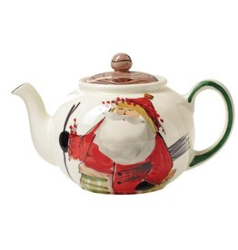 The Old St. Nick Teapot features Old St. Nick setting out on a walk ...
