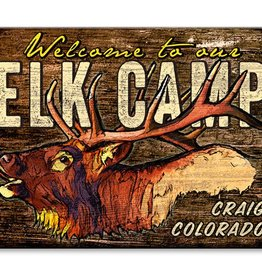 Welcome to Our Elk Camp- 23x31 Wood