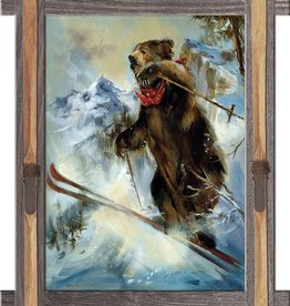 """The Big Jump"" (Ski Jumping Bear) with Ski Frame- Maloof Designs 49x39"
