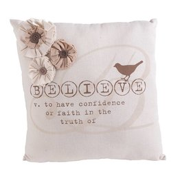 13 Inch Cream Believe Pillow