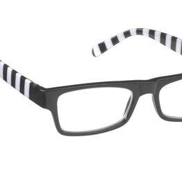 Rect. Opaque Black frt./black & wht. Stripe Temples +2.75