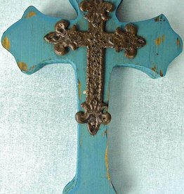 Blue Cross Wall Decor Wood