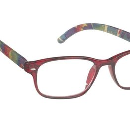 Oval Red Crystal frt./Pattern Bamboo Temples +2.75