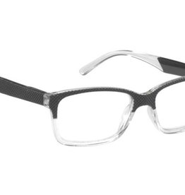 Oval 2-tone blk/clear frt. - 2 Tone Temples +1.75