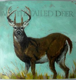 9x9 Inch Gallery-Wrapped Giclee White-Tailed Deer