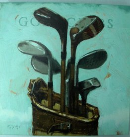 14x14 Inch Gallery-Wrapped Giclee Golf Clubs