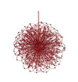 20 Inch Red Glitter Gyro Beaded Ornament