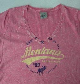 """Junior V-Neck """"Montana Big Sky Country"""" Pink- Large"""