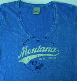 """Junior V-Neck """"Montana Big Sky Country"""" Blue- Medium"""