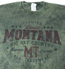 "Men's Acid Wash ""Montana Big Sky Country"" Olive- 2XLarge"
