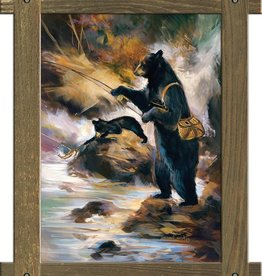 """Fly Fisherman"" (Fly Fishing Bear) with Brown Frame - Maloof Designs 49x39"