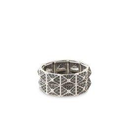 Antique Silver/Crystal Accent Art Deco Stretch Bracelet