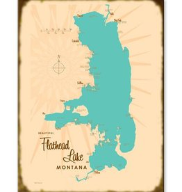 Flathead Lake Map 17x23 Custom Wood Sign