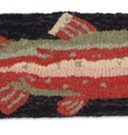 """Steelhead Trout Red  8""""x24"""" Hooked Pillow"""